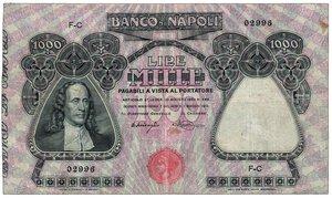 obverse: BANCO DI NAPOLI - 1000 Lire  (G.B. Vico) -
