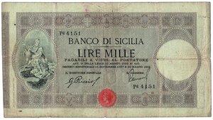 obverse: BANCO DI SICILIA - 1000 Lire II tipo Decr 30/05/1919