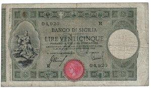 obverse: BANCO DI SICILIA - Lire 25 - Serie 04,920 R.