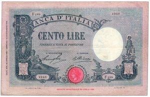 obverse:  REGNO D ITALIA - Vittorio Emanuele III - 100 Lire