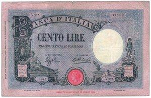 obverse:  REGNO D ITALIA - Vittorio Emanuele III - 100 Lire azzurro