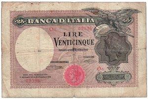 obverse: REGNO D ITALIA - Vittorio Emanuele III - 25 Lire