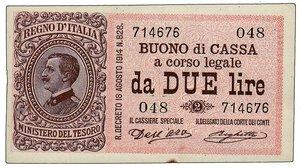 obverse: REGNO D ITALIA - Vittorio Emanuele III decr 20/08/1914 - Buono cassa da 2 Lire - Macchiolina al bordo altrimenti FDS.
