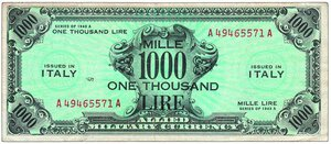 obverse: AMG - 1.000 Lire bilingue.