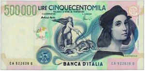 obverse: REPUBBLICA - 500.000 Lire Raffaello.
