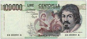 obverse: REPUBBLICA - 100.000 Lire Caravaggio Decr 1° settembre 1983