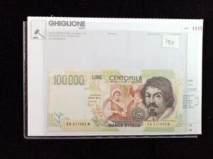 obverse: REPUBBLICA - 100.000 Lire Caravaggio - 5 banconote in sequenza