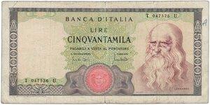 obverse: REPUBBLICA - 50.000 Lire Leonardo 19/07/70.