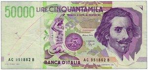 obverse: FALSO - 50.000 Lire Bernini AC 951862 B  Decr 27/05/1992.