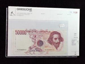 obverse: REPUBBLICA - 50.000 Lire Bernini Decr 1986 - 4 banconote in sequenza.