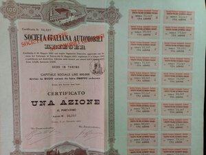CERTIFICATI AZIONARI - SOC. ITALIANA AUTOMOBILI KRIEGER
