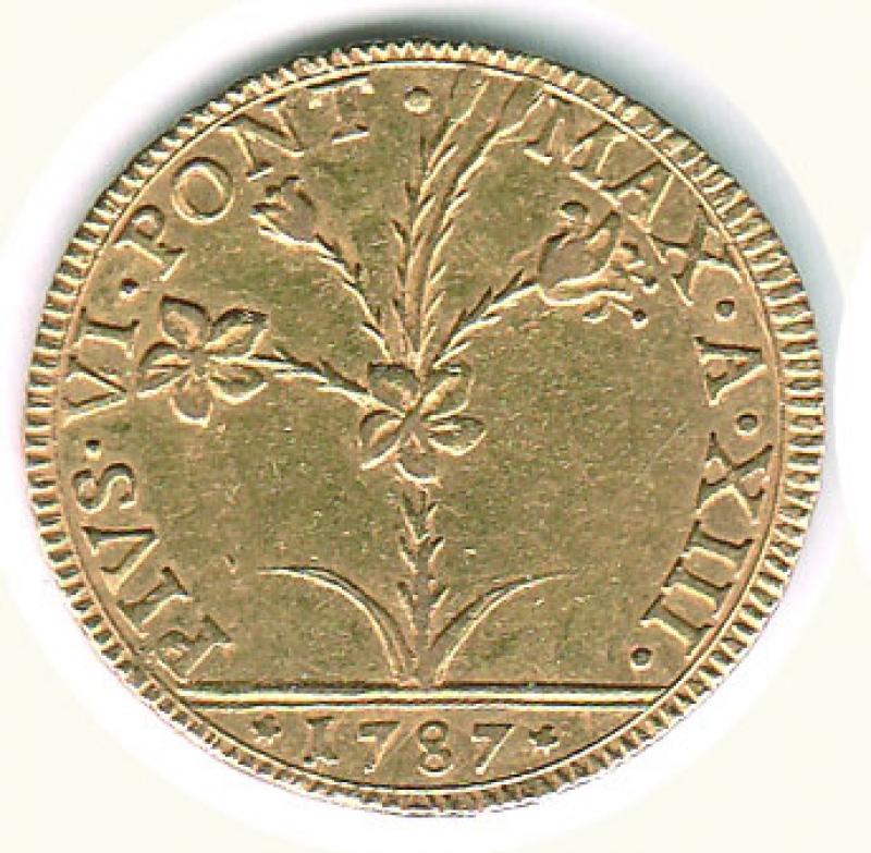 obverse: BOLOGNA - Pio VI - Quadrupla 1787