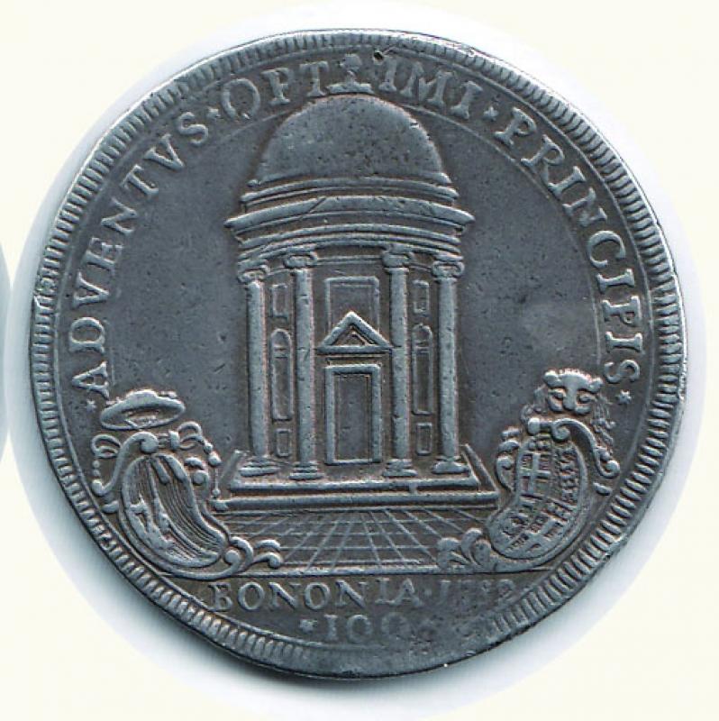 reverse: BOLOGNA - Pio VI - Scudo del tempio da 100 Bolognini - AN VIII - Appicagnolo asportato, altrimenti BB+/q.SPL.