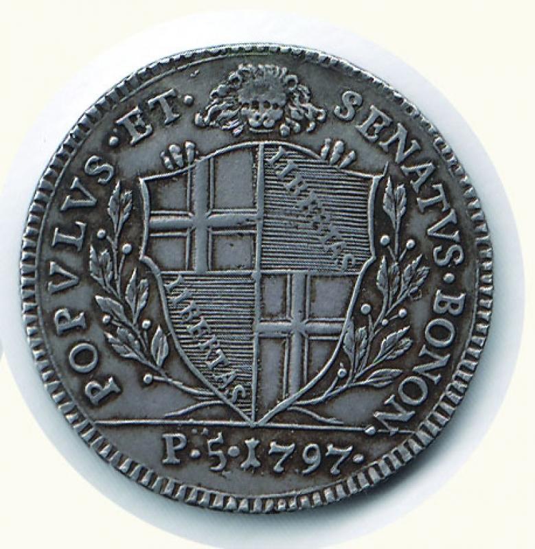 reverse: BOLOGNA - Governo provvisorio - 5 Paoli 1797.