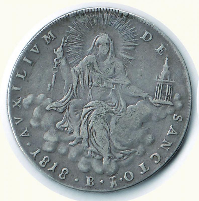 obverse: BOLOGNA - Pio VII - Scudo 1818 A. XVIII (da montatura).