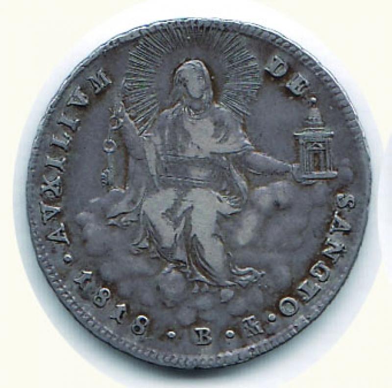obverse: BOLOGNA - Pio VII - Doppio Giulio 1818.
