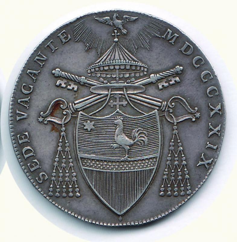reverse: BOLOGNA - Sede vacante 1829 - Scudo.