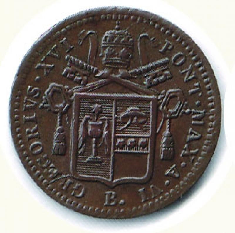 obverse: BOLOGNA -  Gregorio XVI (1831-1846) - ½ Baiocco 1836.
