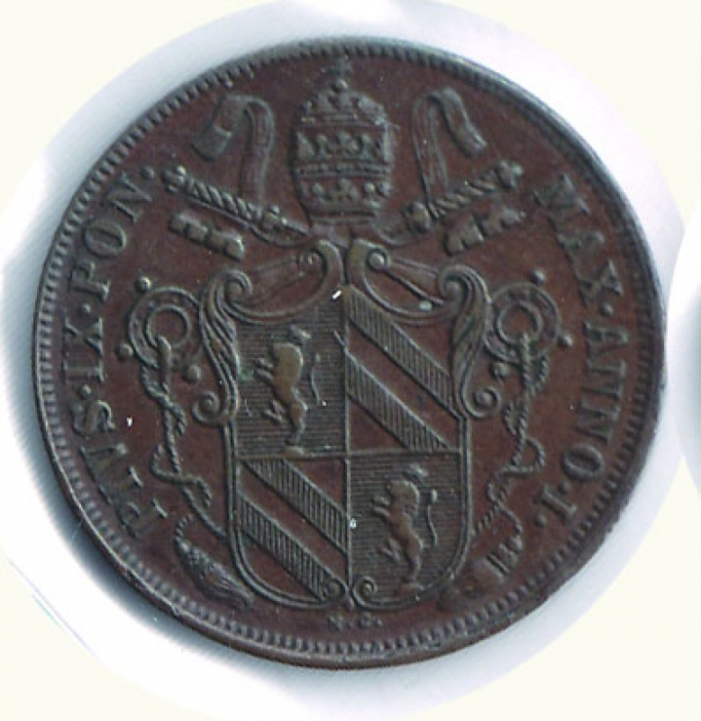 obverse: BOLOGNA - Pio IX - Baiocco 1847.