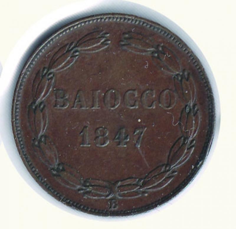 reverse: BOLOGNA - Pio IX - Baiocco 1847.