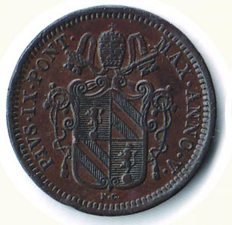 obverse: BOLOGNA - Pio IX - ½ Baiocco 1850.