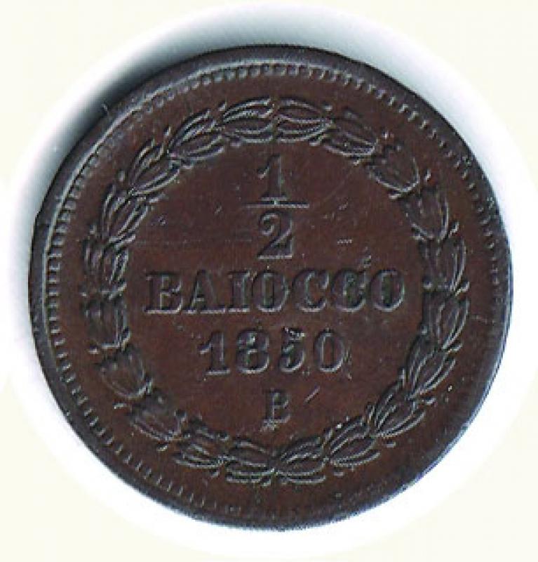 reverse: BOLOGNA - Pio IX - ½ Baiocco 1850.