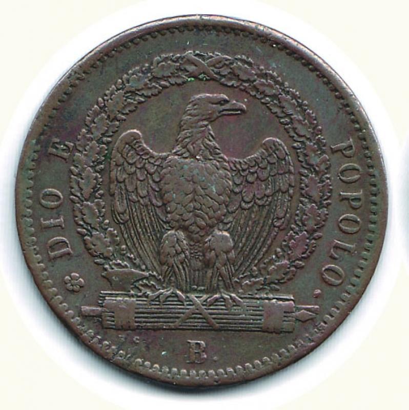 obverse: BOLOGNA - 2° Repubblica Romana - 3 Baiocchi 1849.