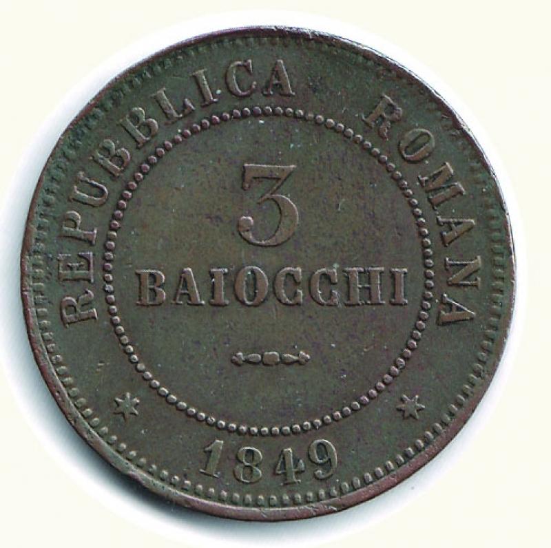 reverse: BOLOGNA - 2° Repubblica Romana - 3 Baiocchi 1849.