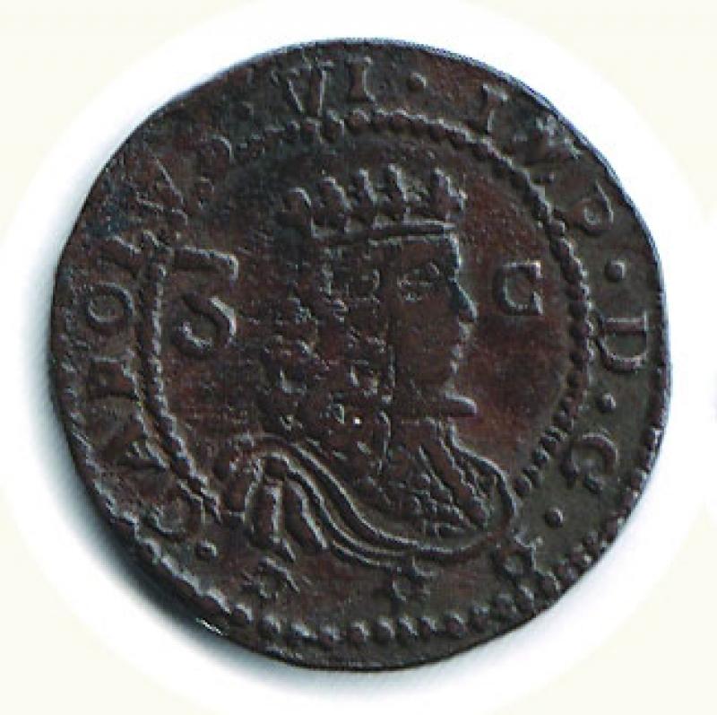obverse: CAGLIARI - Carlo VI  (2° periodo 1712-1718) - 3 Cagliaresi