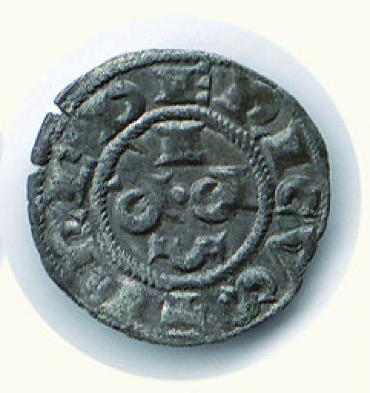 reverse: CREMONA Comune (1155-1330) Mezzanino  D/Croce patente con bisante nel I e II angolo, spina nel III e IV angolo, R/ -/P.R./I - C.N.I. 190/13. - g.0,66.