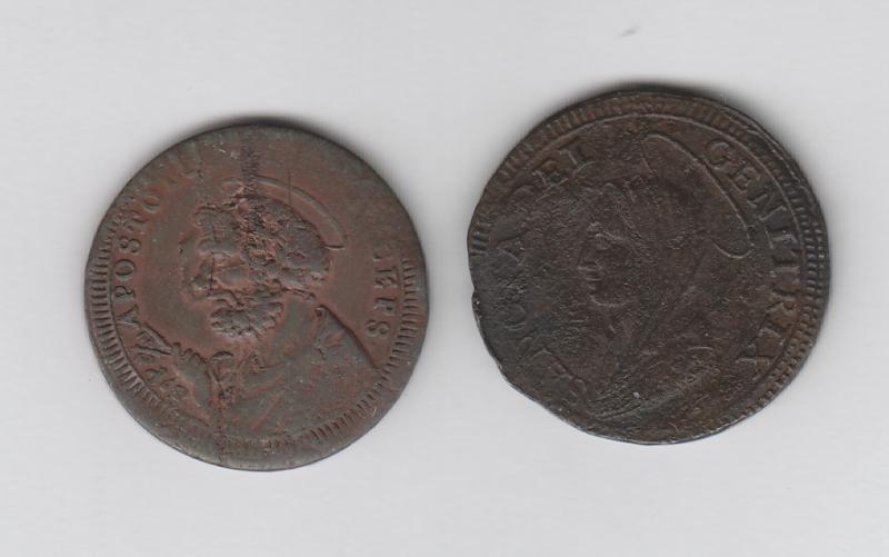 obverse: FERMO - 5 Baiocchi 1797 + VITERBO - Pio VI 2,5 Baiocchi 1796