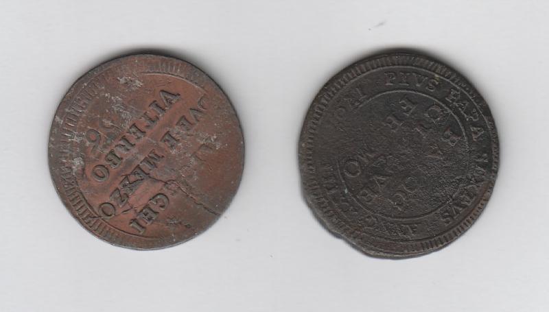 reverse: FERMO - 5 Baiocchi 1797 + VITERBO - Pio VI 2,5 Baiocchi 1796