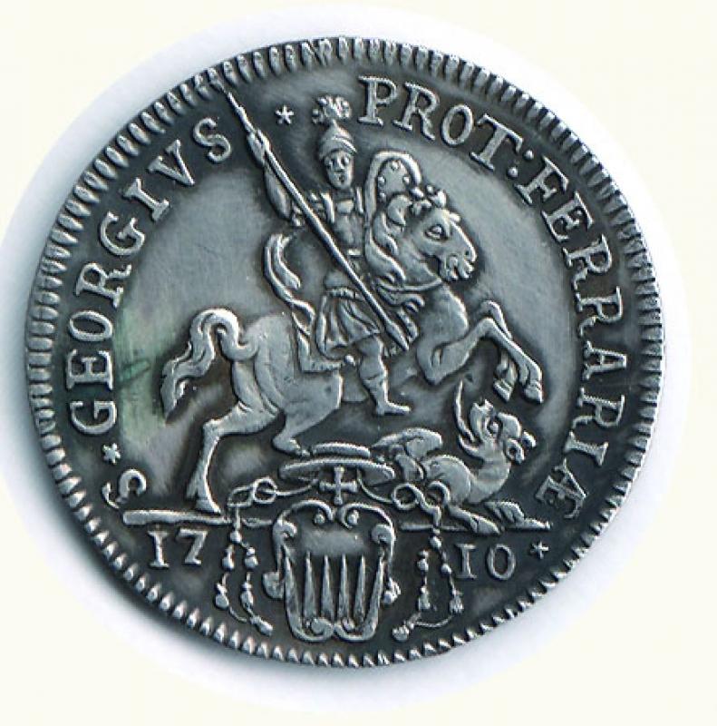reverse: FERRARA - Clemente XI (1700-1721) - Testone; D/ Busto; R/ S. Giorgio a cavallo che uccide il drago - Zecca Ferrara - Altissima conservazione per il tipo - Patinato. SPL/FDC Richiesta 650