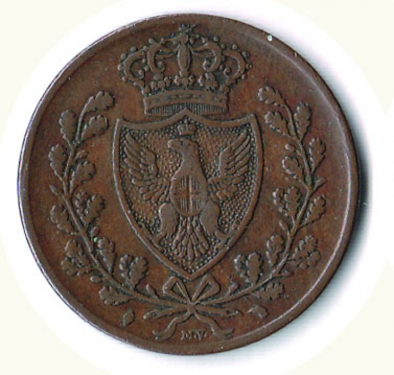 obverse: CARLO FELICE - 5 Cent. 1826  L  in losanga To.