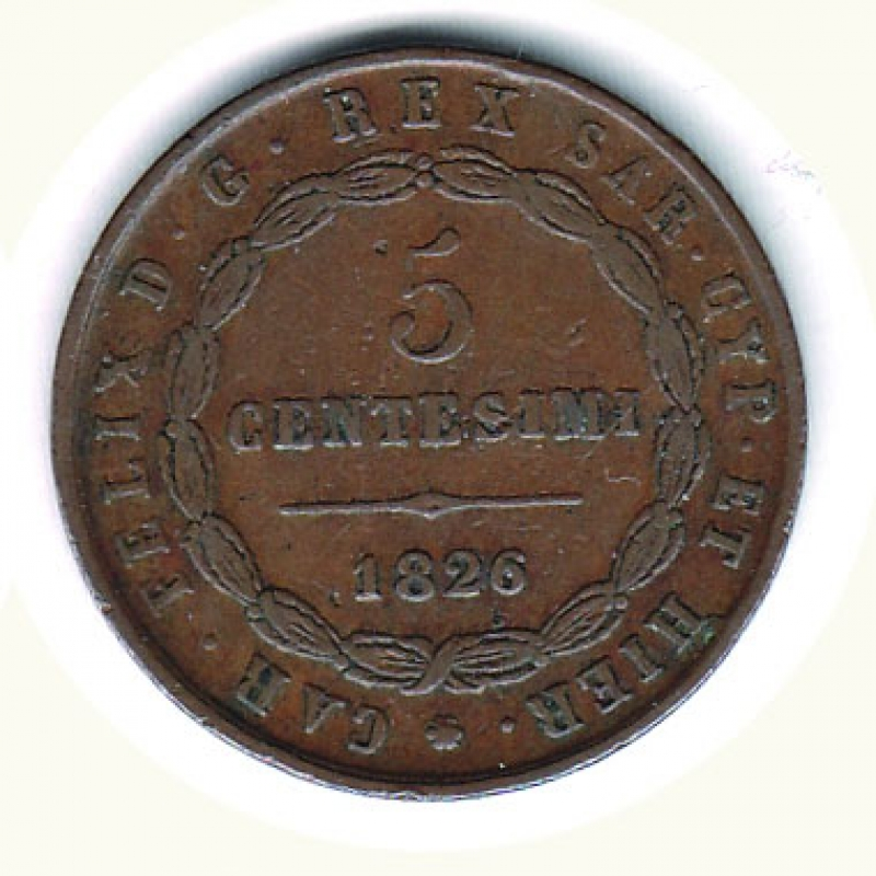 reverse: CARLO FELICE - 5 Cent. 1826  L  in losanga To.