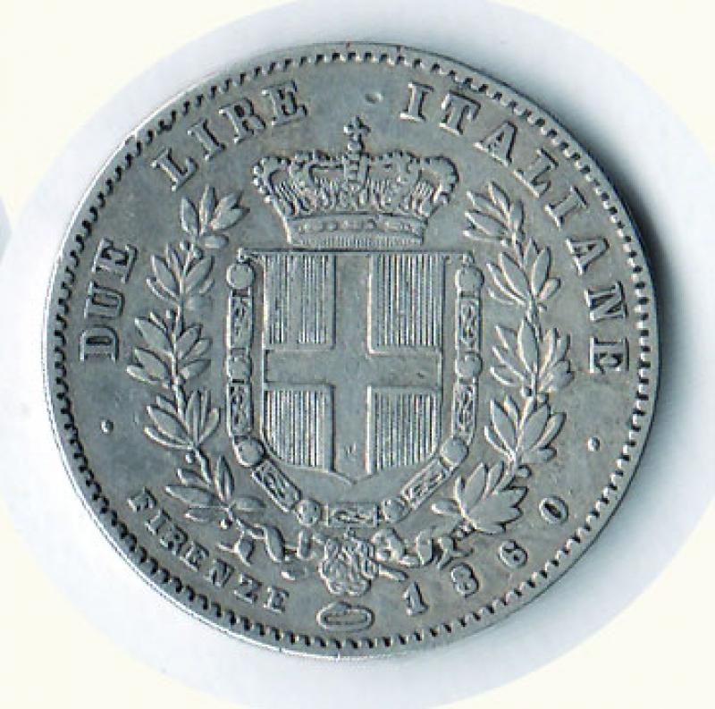 reverse: VITTORIO EMANUELE II - Re Eletto - 2 Lire 1860 Firenze.