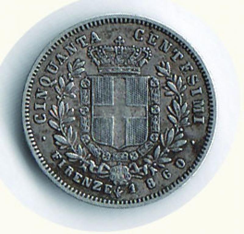 reverse: VITTORIO EMANUELE II - Re Eletto - 50 Cent. 1860 Firenze