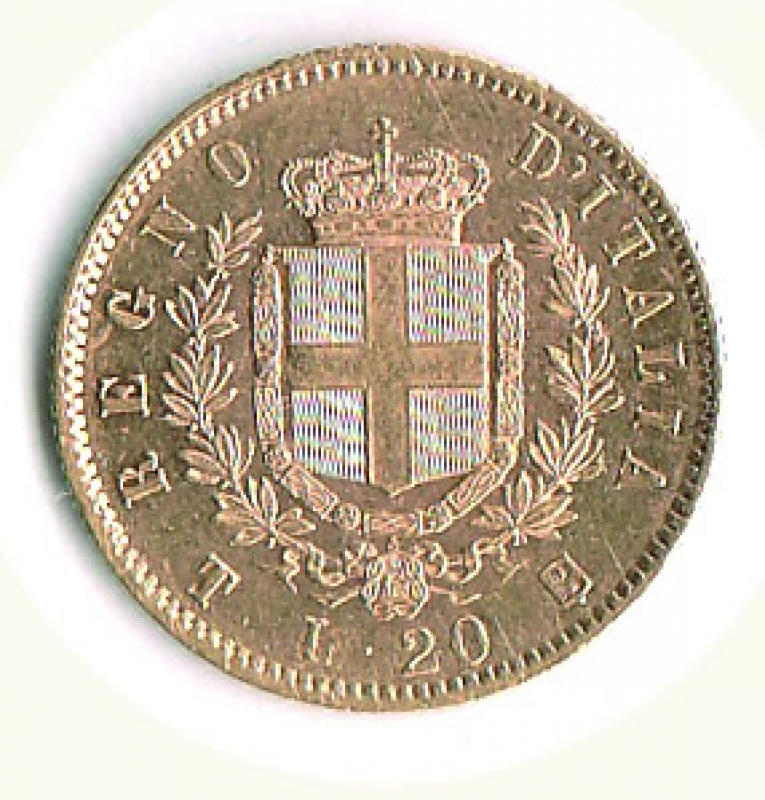 reverse: VITTORIO EMANUELE II - 20 Lire 1861 To.