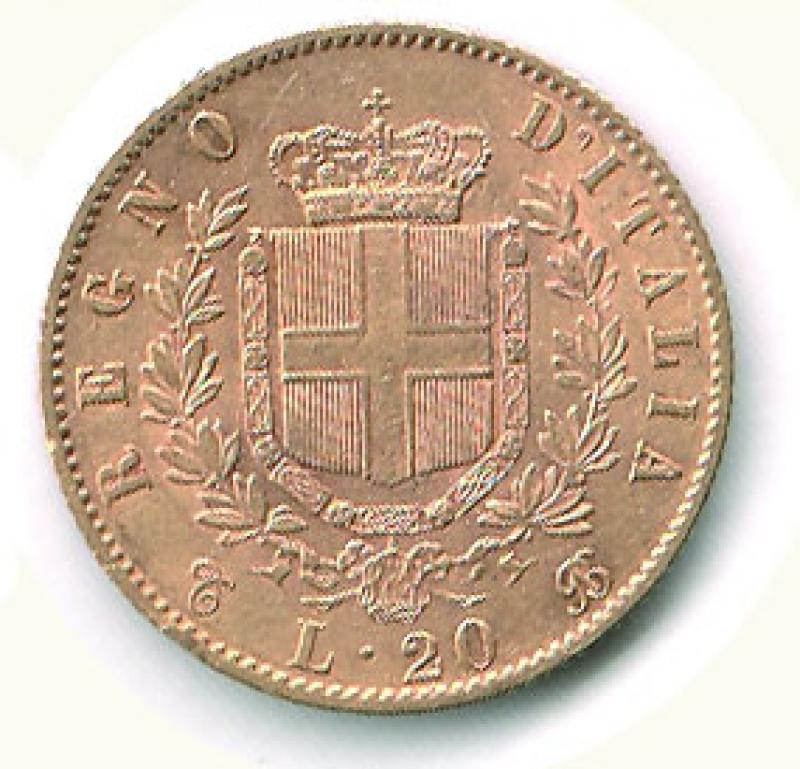reverse: VITTORIO EMANUELE II - 20 Lire 1863.
