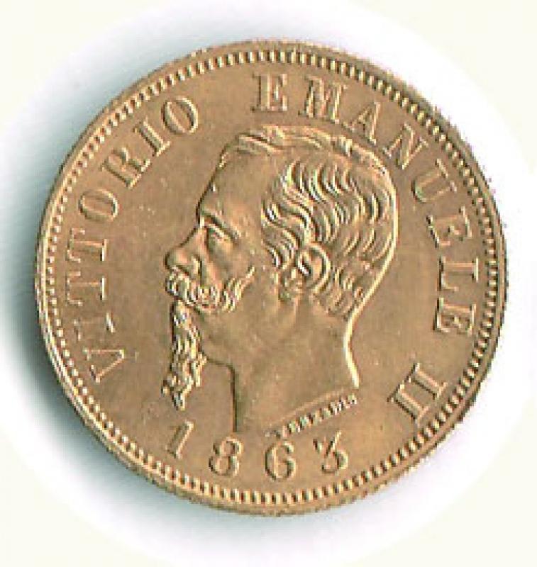 obverse: VITTORIO EMANUELE II - 10 Lire AU 1863 - Ø 18,5.