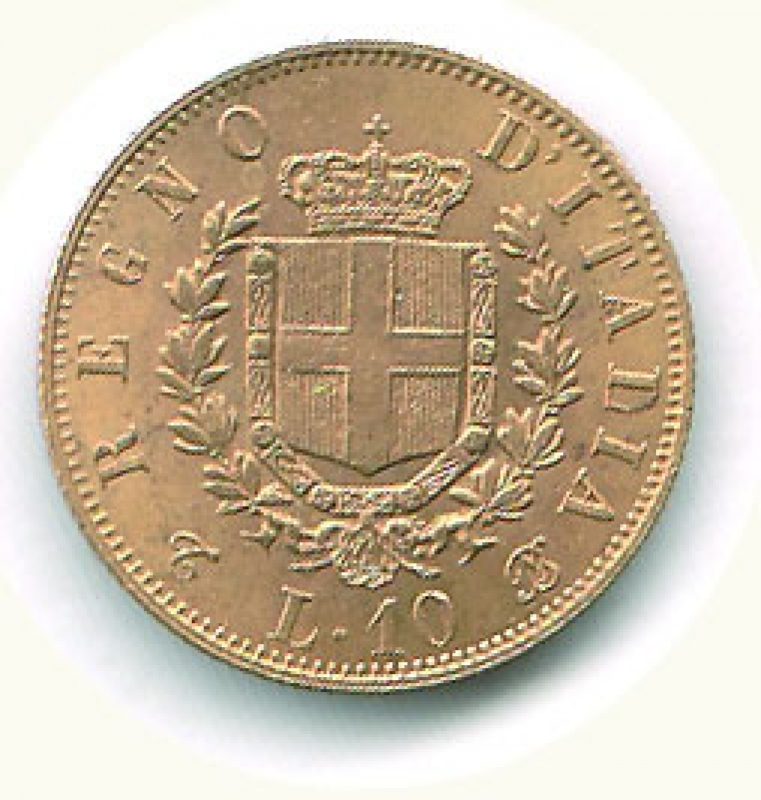 reverse: VITTORIO EMANUELE II - 10 Lire AU 1863 - Ø 18,5.