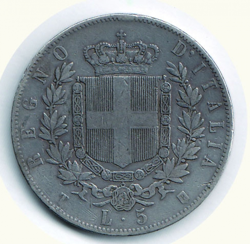 reverse: VITTORIO EMANUELE II - 5 Lire 1861 To.