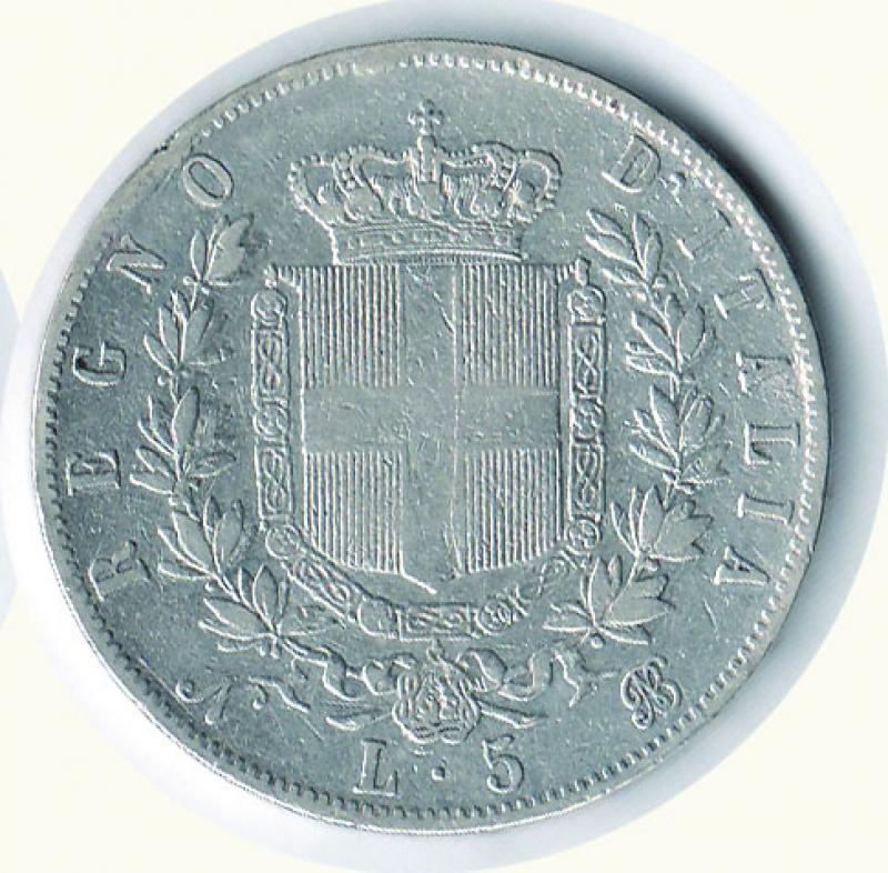 reverse: VITTORIO EMANUELE II - 5 Lire 1864 Na.