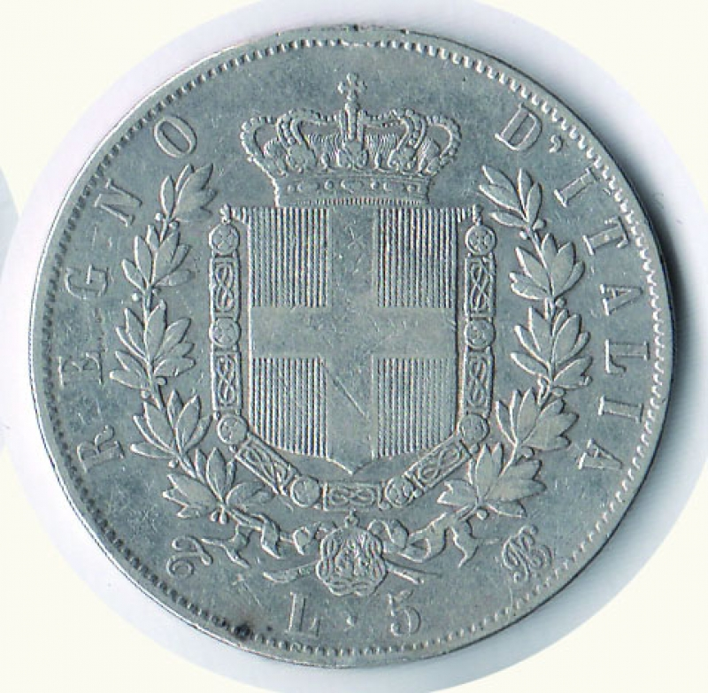 reverse: VITTORIO EMANUELE II - 5 Lire 1865 To.