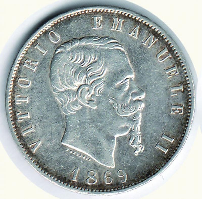 obverse: VITTORIO EMANUELE II - 5 Lire 1869