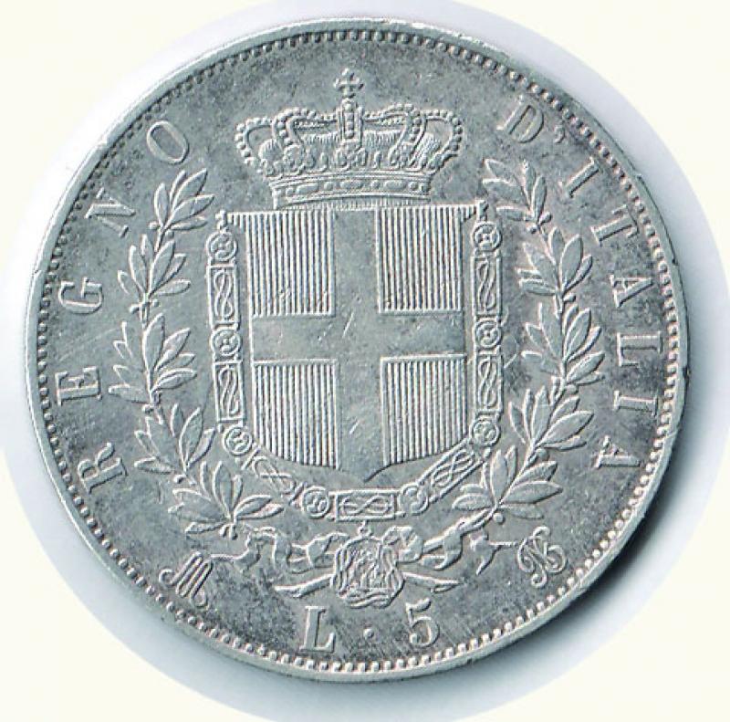 reverse: VITTORIO EMANUELE II - 5 Lire 1869