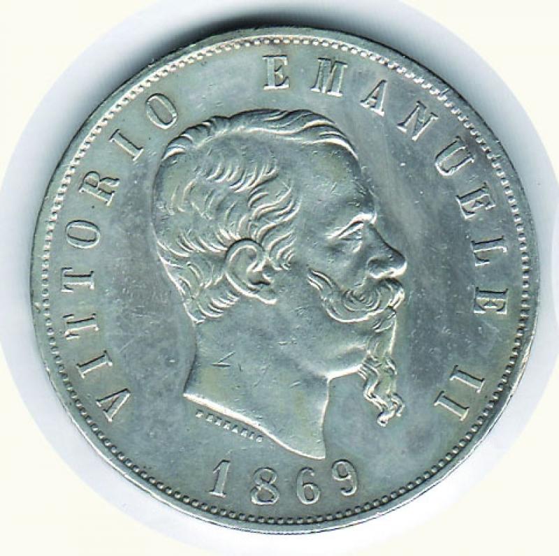 obverse: VITTORIO EMANUELE II - 5 Lire 1869 Mi.