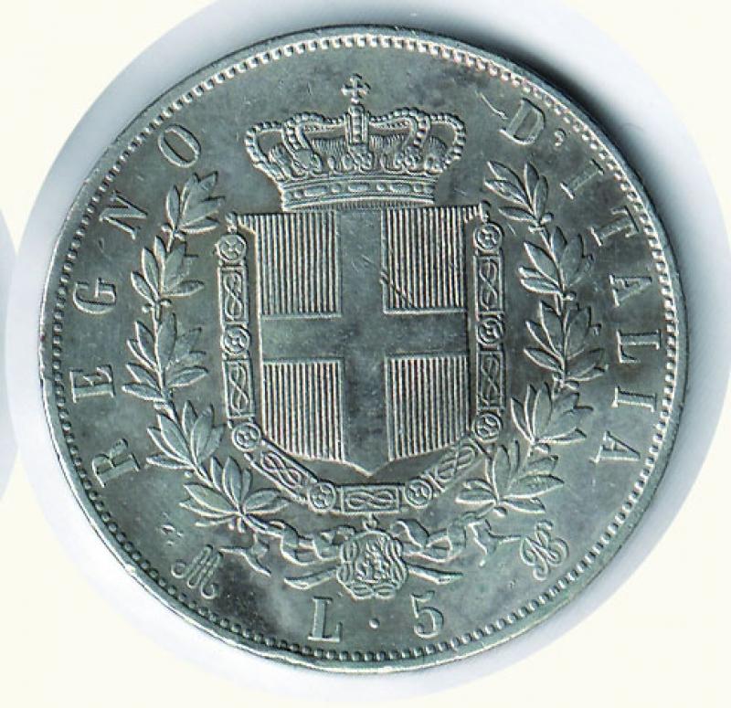 reverse: VITTORIO EMANUELE II - 5 Lire 1869 Mi.
