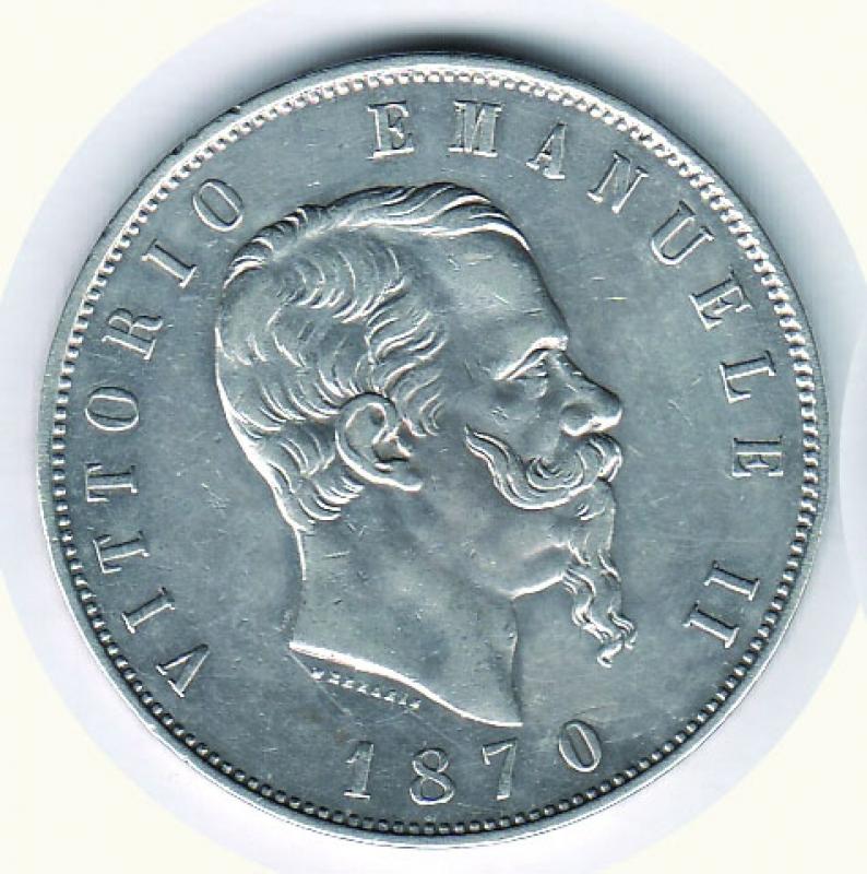 obverse: Vittorio Emanuele II - 5 Lire 1870 RO