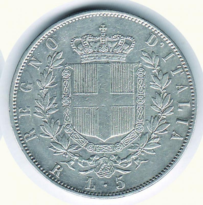 reverse: Vittorio Emanuele II - 5 Lire 1870 RO